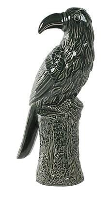 Enfeite Pássaro em Cerâmica Esmaltada  - 16cm x 42cm Cor: Verde