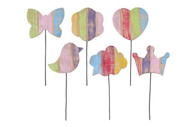 Espeto com 6 Figuras de Madeira Artesanal Colorida Roots Joy