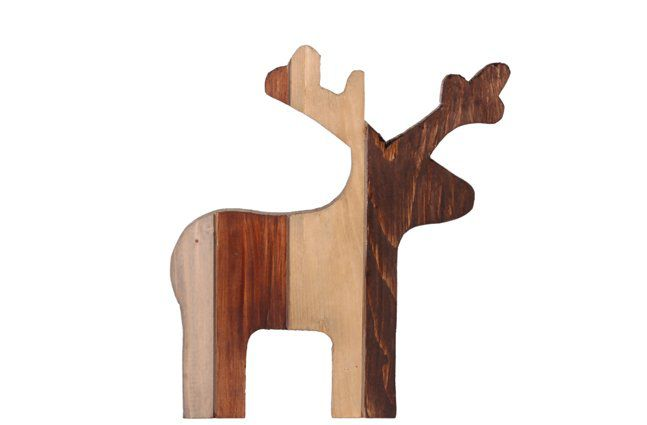 Figura Cervo de Madeira Artesanal Roots Warm