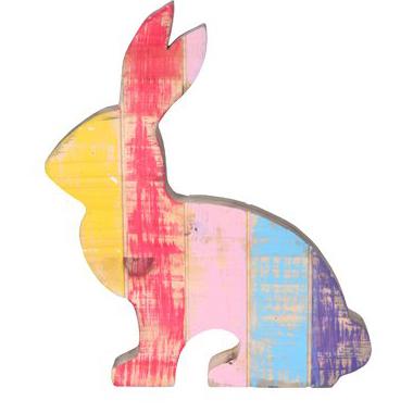 Figura Coelho de Madeira Colorido Artesanal Roots Joy 25x30cm