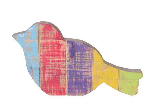 Figura Passaro de madeira (Roots) Joy D36 A20 Cor: Multicolor