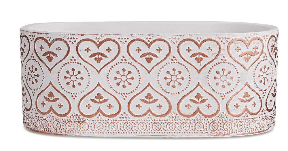 Floreira Decorada em Cimento - Largura 17cm x 13cm Cor: Branco e Cobre