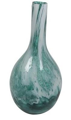 Vaso de Vidro Artesanal Azul Oceano Liz 17x31cm