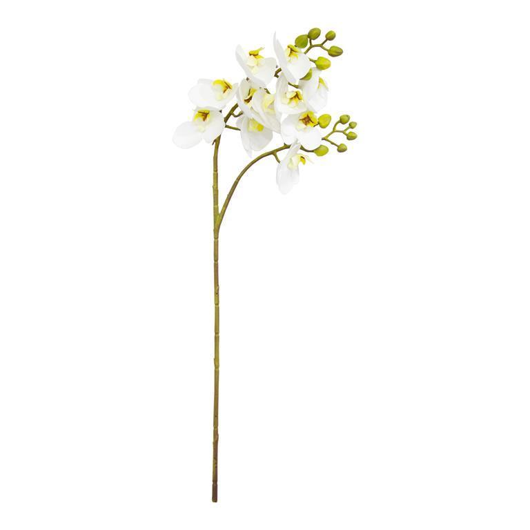 Haste de Orquídea Branca e Amarela Permanente 60cm