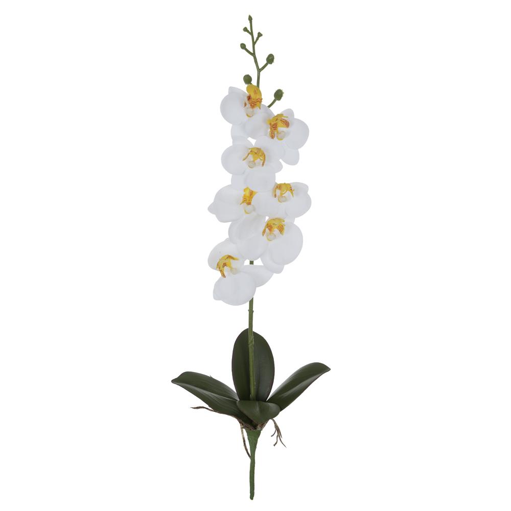 Haste Orquídea Phalaenopsis Branca c/Folha Permanente Toque Real 45cm