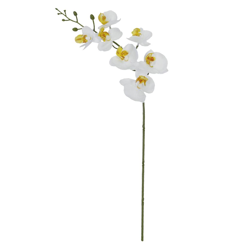 Haste Orquídea Phalaenopsis Branca c/Folha Permanente Toque Real 53cm
