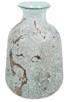 Vaso de Vidro Verde Gelo Artesanal Aya 17x26cm