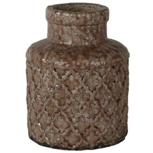 Jarra de Cerâmica Artesanal Rosa Antigo Noah 19x24cm