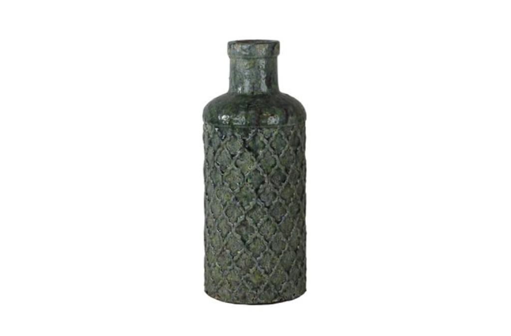 Jarra de Cerâmica Artesanal Verde Jade Noah 16x39cm