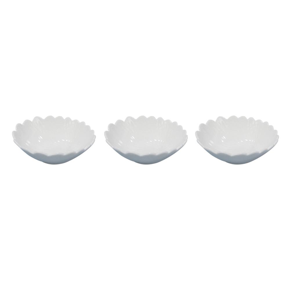 Jogo de 3 Bolws Porcelana Branco 4x10cm
