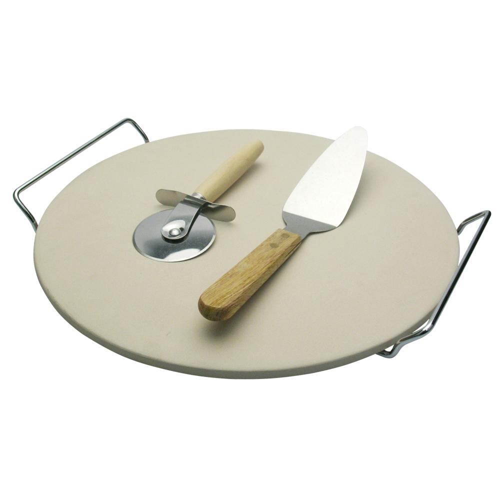 Jogo de Pizza 4/Pçs com Base de Cerâmica e Aço Inox 38cm