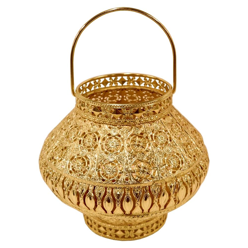 Lanterna Decorativa Dourada de Metal 23x20cm