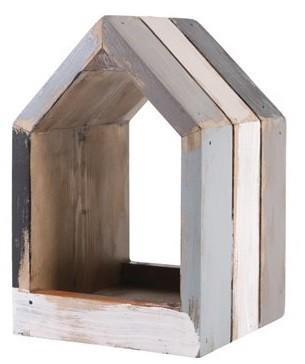 Nicho Casa de madeira (Roots) Calm - Altura 19cm Cor: Cinza