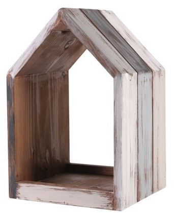 Nicho Casa de madeira (Roots) Calm - Altura 39cm Cor: Cinza