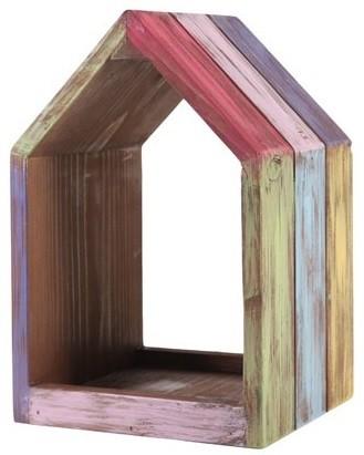 Nicho Casa de madeira (Roots) Joy - Altura 29cm Cor: Multicolor