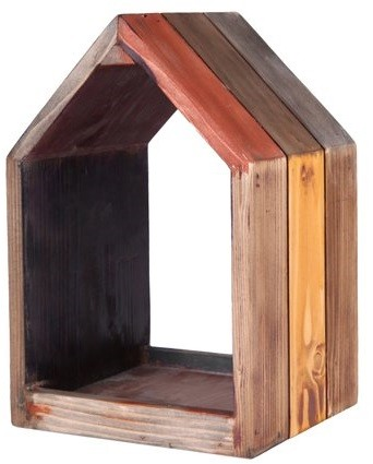 Nicho Casa de madeira (Roots) Warm - Altura 19cm Cor: Marrom
