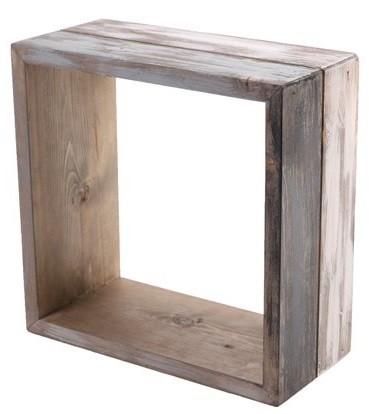 Nicho de madeira (Roots) Calm -  28cm x 28cm Cor: Cinza