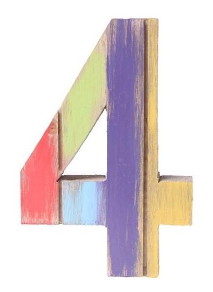 Número 4 de Madeira Artesanal Colorida Roots Joy