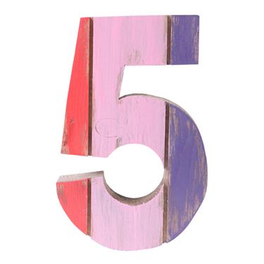Número 5 de Madeira Artesanal Colorida Roots Joy