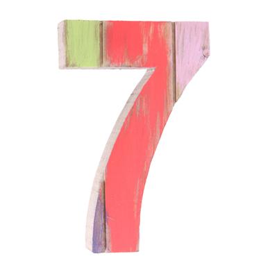 Número 7 de Madeira Artesanal Colorida Roots Joy