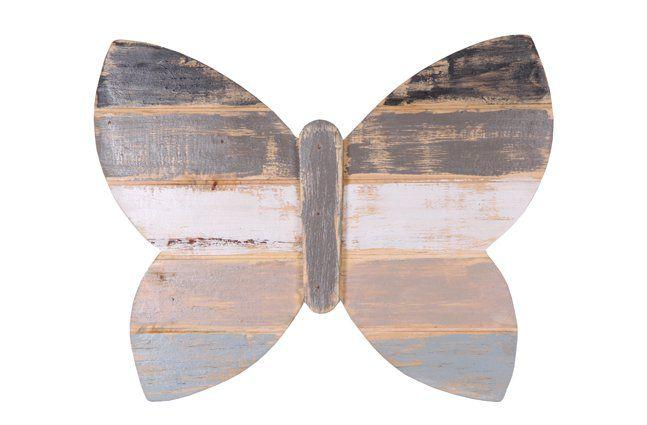 Pendente borboleta em madeira (Roots) Calm -  38cm x 30cm Cor: cinza