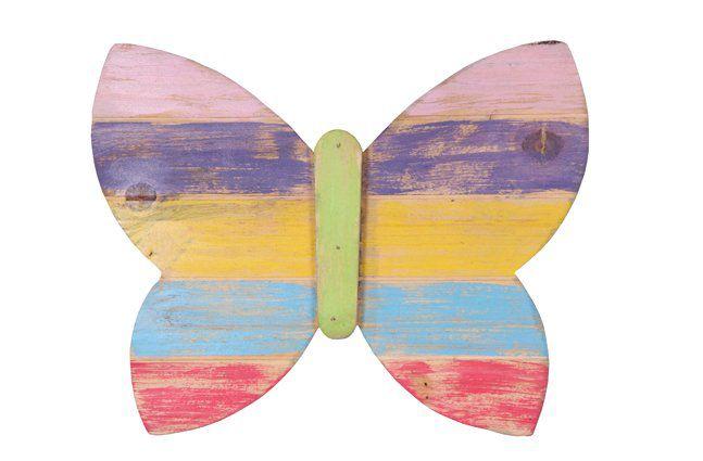 Pendente borboleta em madeira (Roots) Joy -  38cm x 30cm Cor: Multicolor