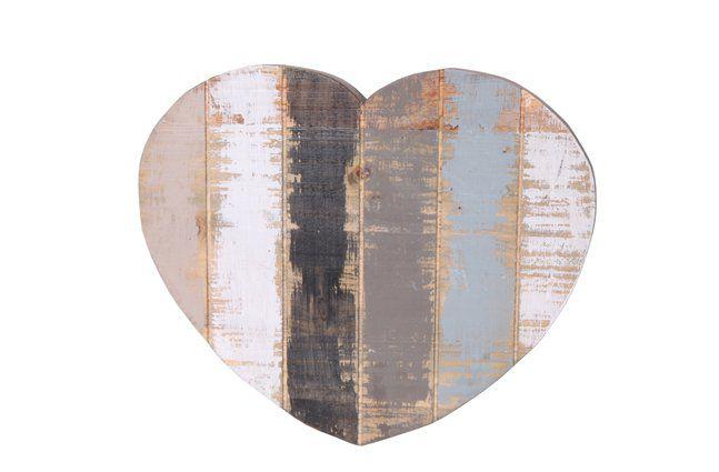 Pendente coração em madeira (Roots) Calm -  36cm x 30cm Cor: Cinza