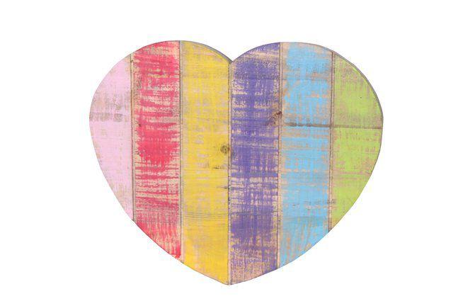 Pendente coração em madeira (Roots) Joy -  36cm x 30cm Cor: Multicolor