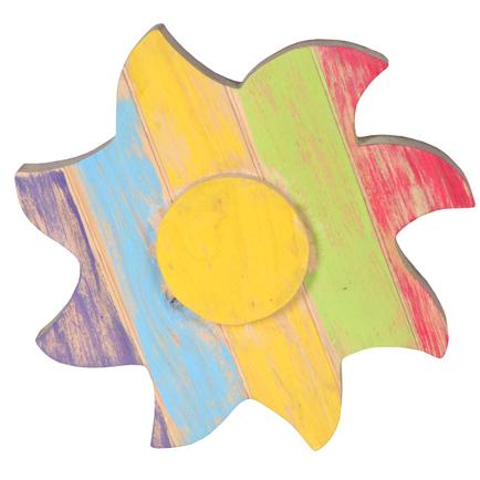 Pendente de Sol de Madeira Artesanal Colorida Roots Joy