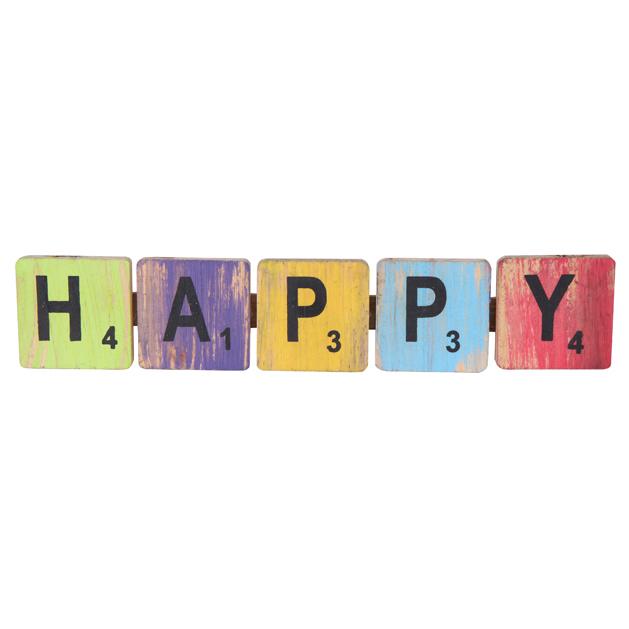 Pendente happy em madeira (Roots) Joy -  40cm x 09cm Cor: Multicolor