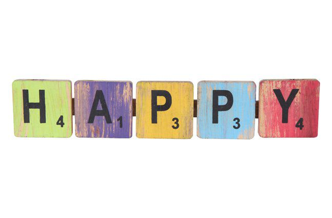 Pendente happy em madeira (Roots) Joy -  40cm x 09cm Cor: Multicolor
