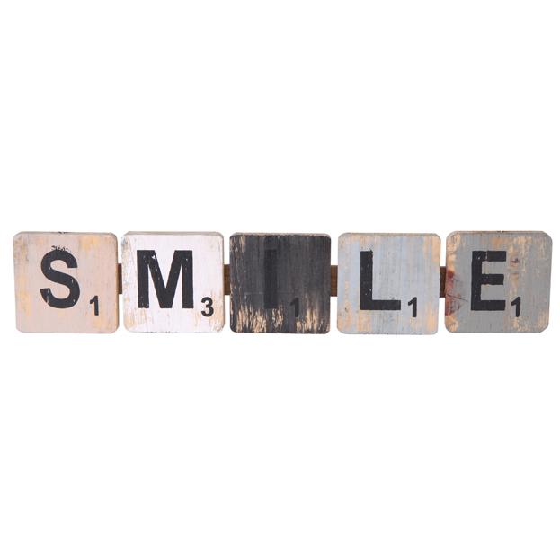 Pendente smile em madeira (Roots) Calm -  40cm x 09cm Cor: Cinza