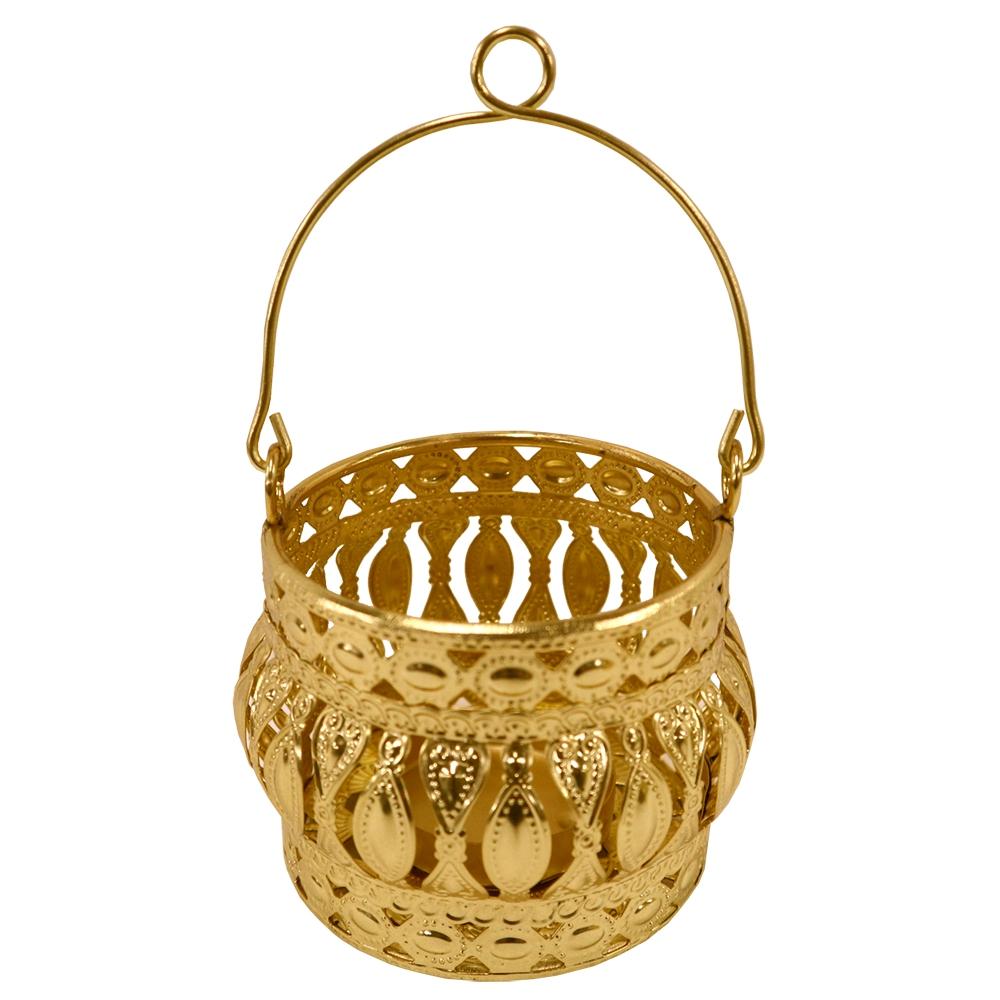 Porta Vela Dourado em Metal 11x10cm