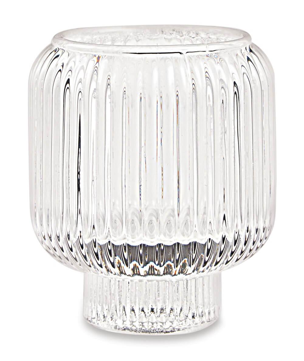 Porta velas duplo em vidro -  07cm x 08cm Cor: Transparente