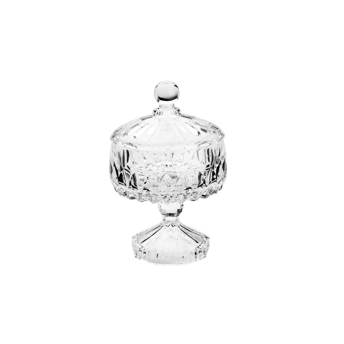 Potiche de Cristal Decorativa c/Pé Louise 18x11cm