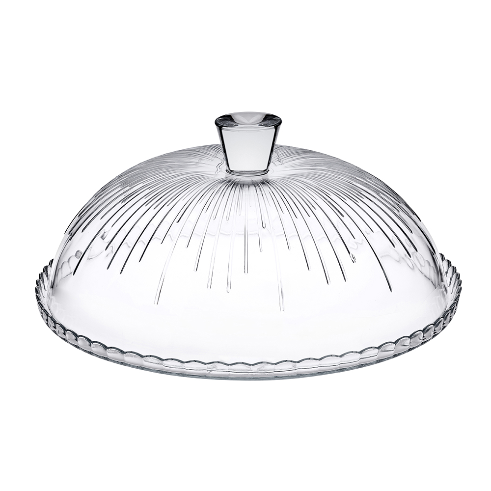 Prato para Bolo Transparente em Vidro 31x11cm