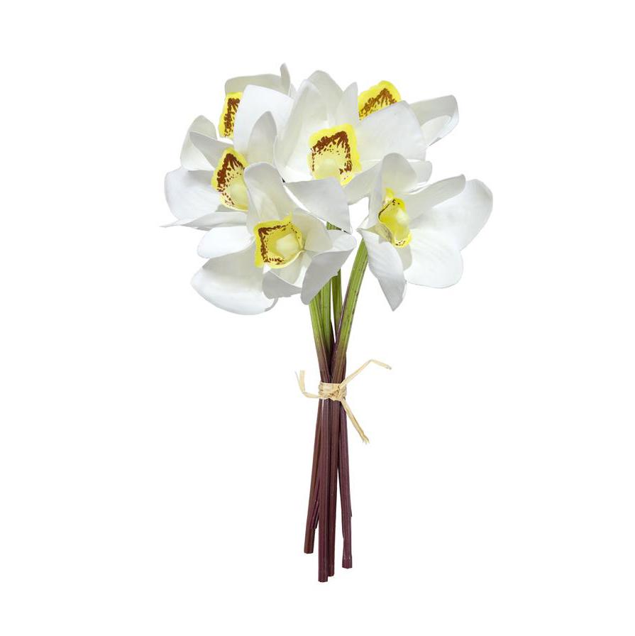 Buquê de Orquídea Cymbidium Branca Permanente 26cm