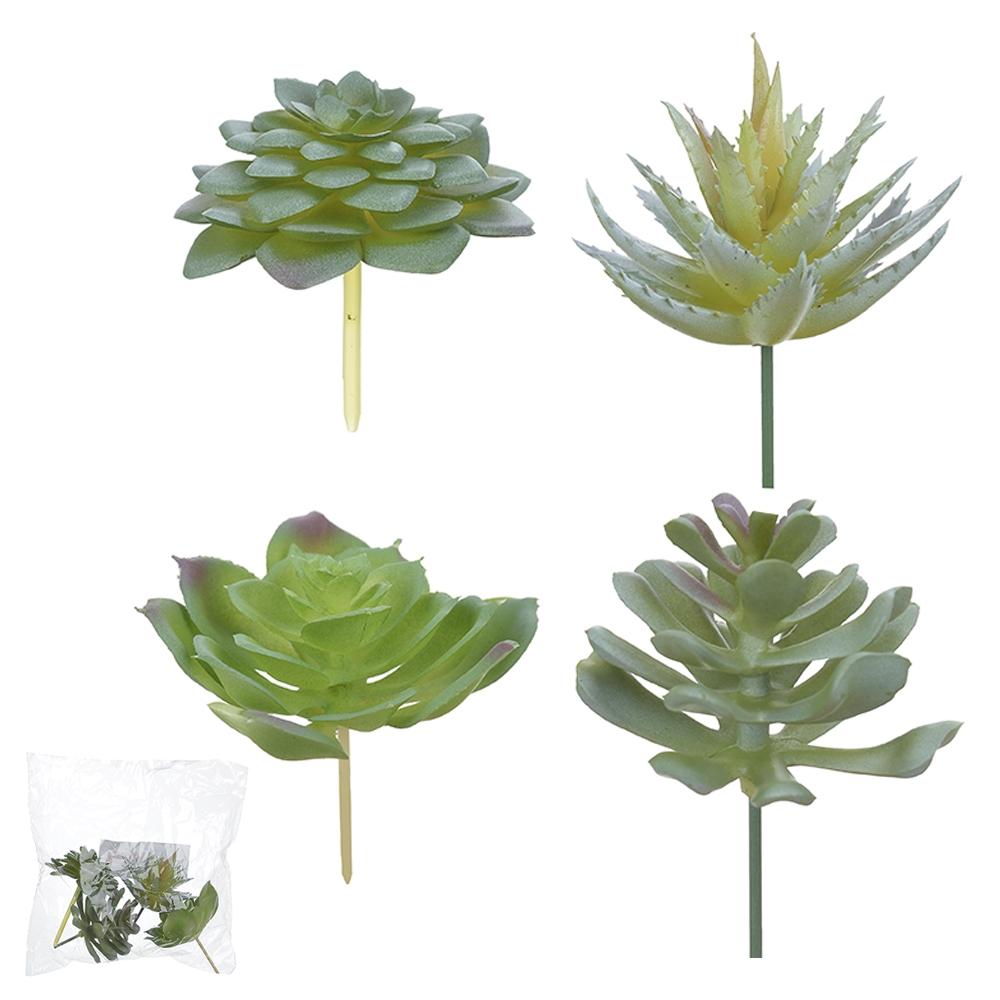Suculentas Sortidas c/4UN Verde 8,5cm