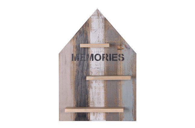 Suporte casinha em madeira (Roots) Calm -  28cm x 40cm Cor: Cinza