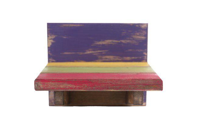 Suporte de parede em madeira (Roots) Joy -  14cm x 13cm Cor: Multicolor
