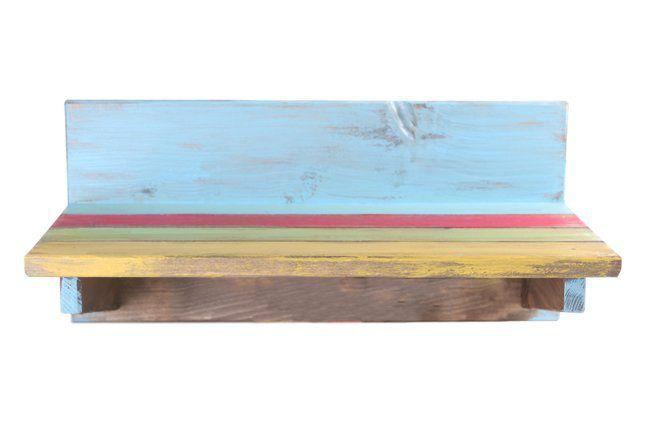 Suporte de parede em madeira (Roots) Joy -  35cm x 16cm Cor: Multicolor