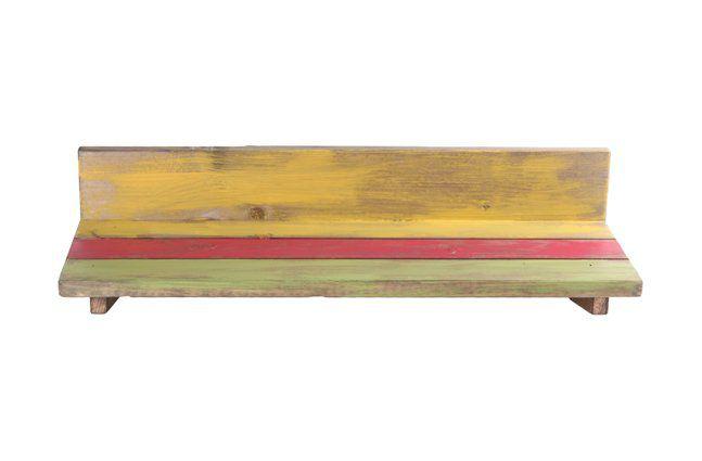 Suporte de parede em madeira (Roots) Joy -  40cm x 13cm Cor: Multicolor