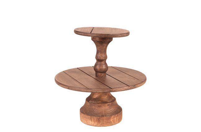 Suporte para doces 2 andares em madeira (Roots) - Altura 25cm Cor: Marrom