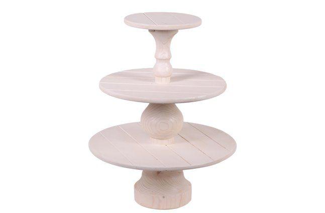 Suporte para doces 3 andares em madeira (Roots) - Altura 38cm Cor: Branco