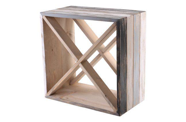 Mini adega em madeira (Roots) Calm -  35cm x 35cm Cor: Cinza