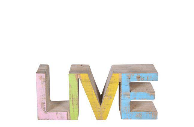 Palavra Live de Madeira Artesanal Colorida Roots Joy