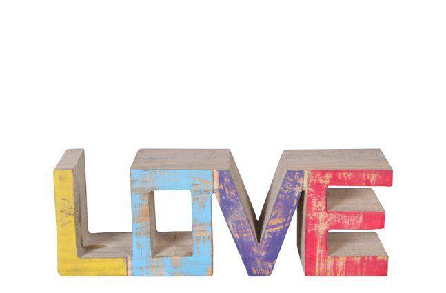Palavra Love de Madeira Artesanal Colorida Roots Joy