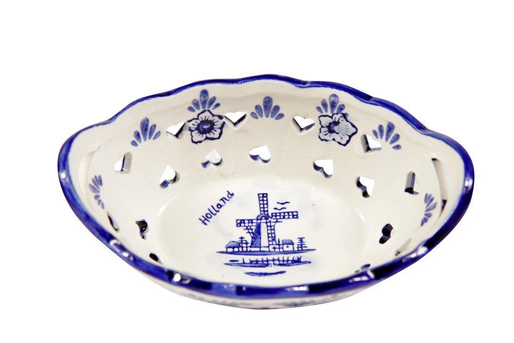 Bolw de Cerâmica Branca e Azul 15x10x7cm