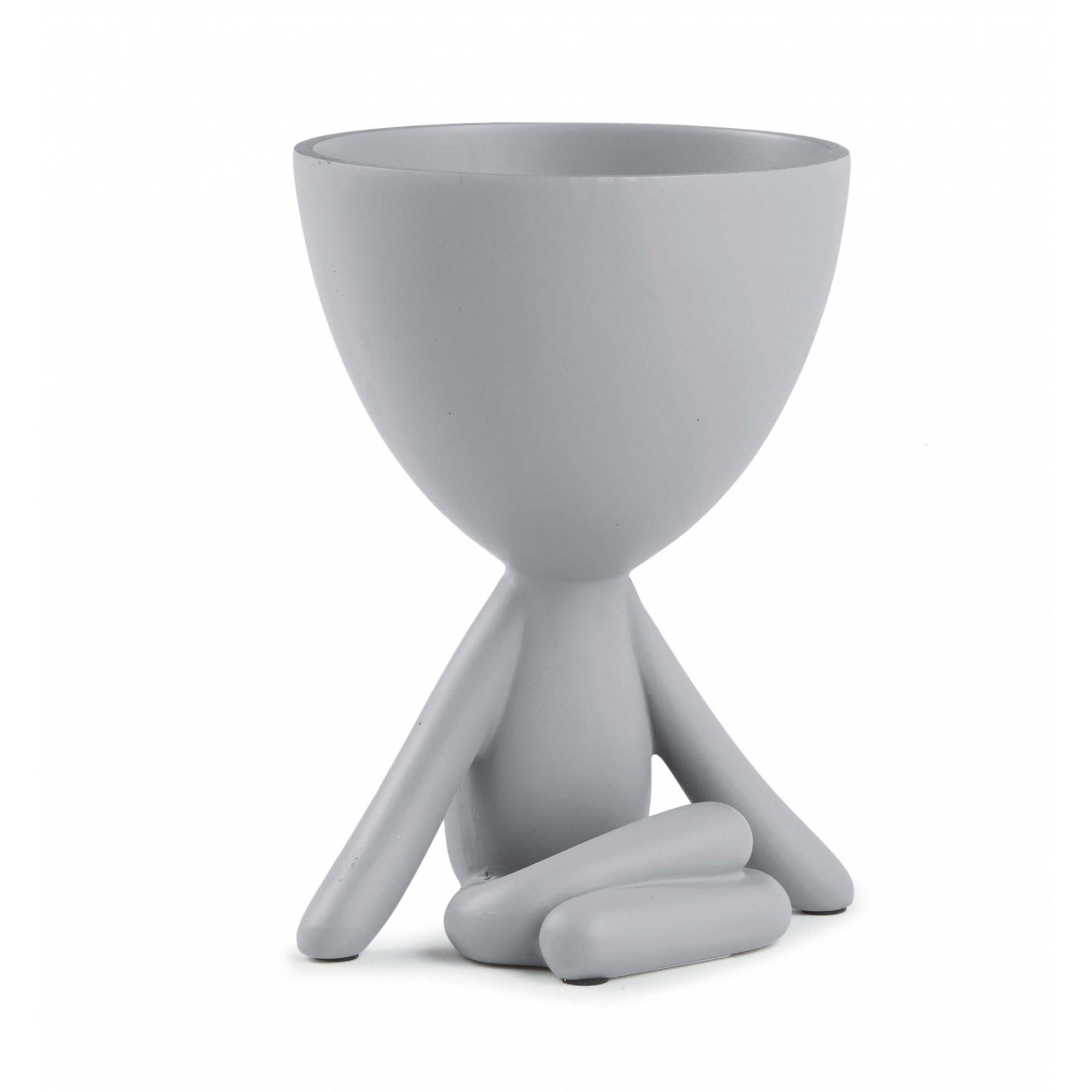 Cachepot Boneco Bob de Poliresina Branco 11x14cm