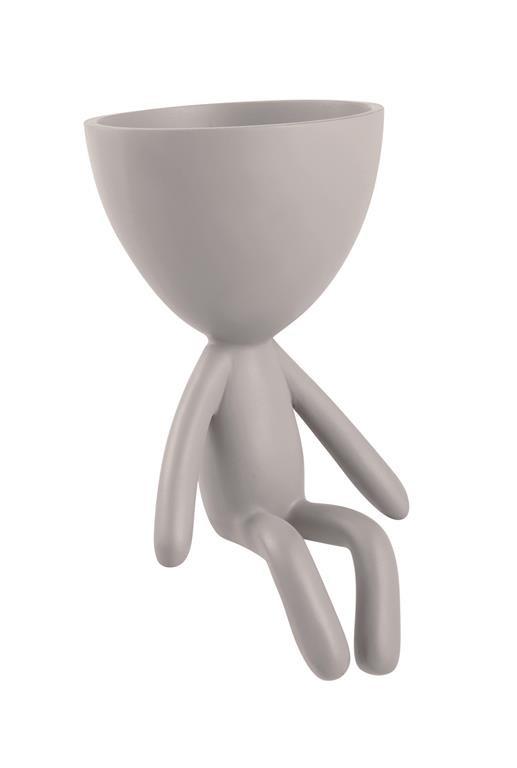 Cachepot Boneco Bob de Poliresina Cinza 10x8cm